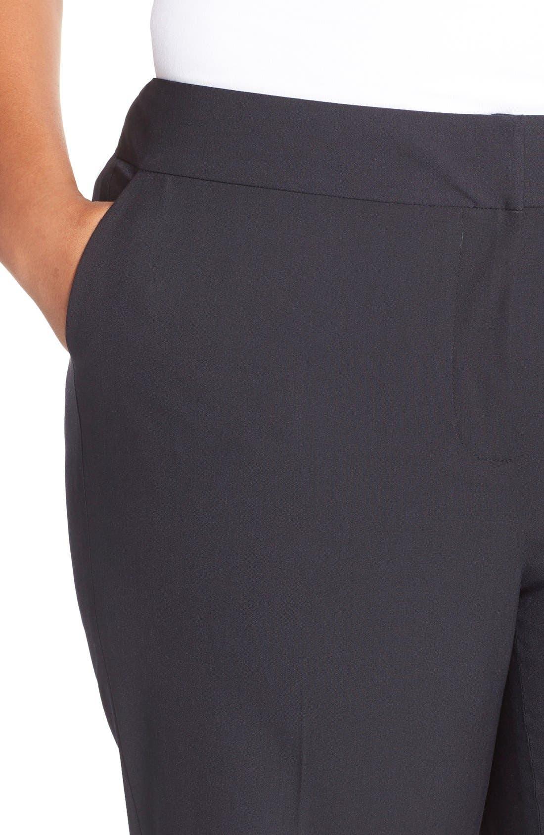 'Ela' Stretch Curvy Fit Wide Leg Suit Pants,                             Alternate thumbnail 4, color,                             Navy Midnight