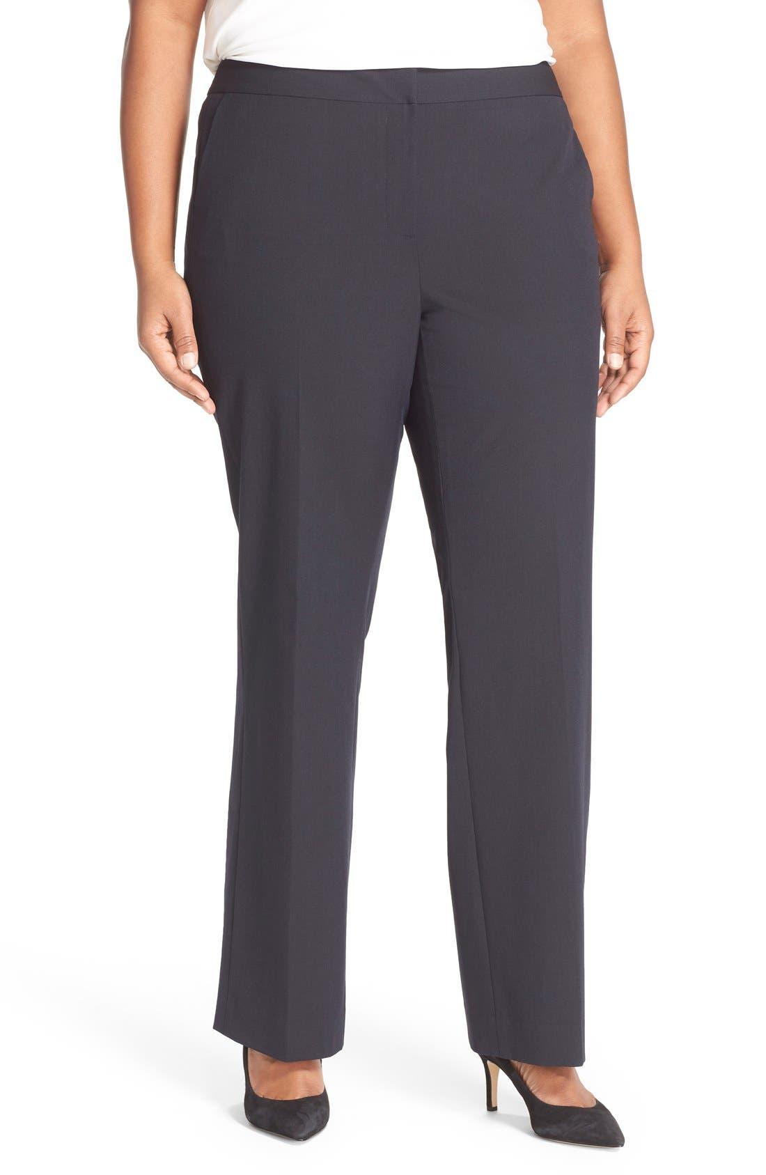 'Ela' Stretch Curvy Fit Wide Leg Suit Pants,                             Main thumbnail 1, color,                             Navy Midnight