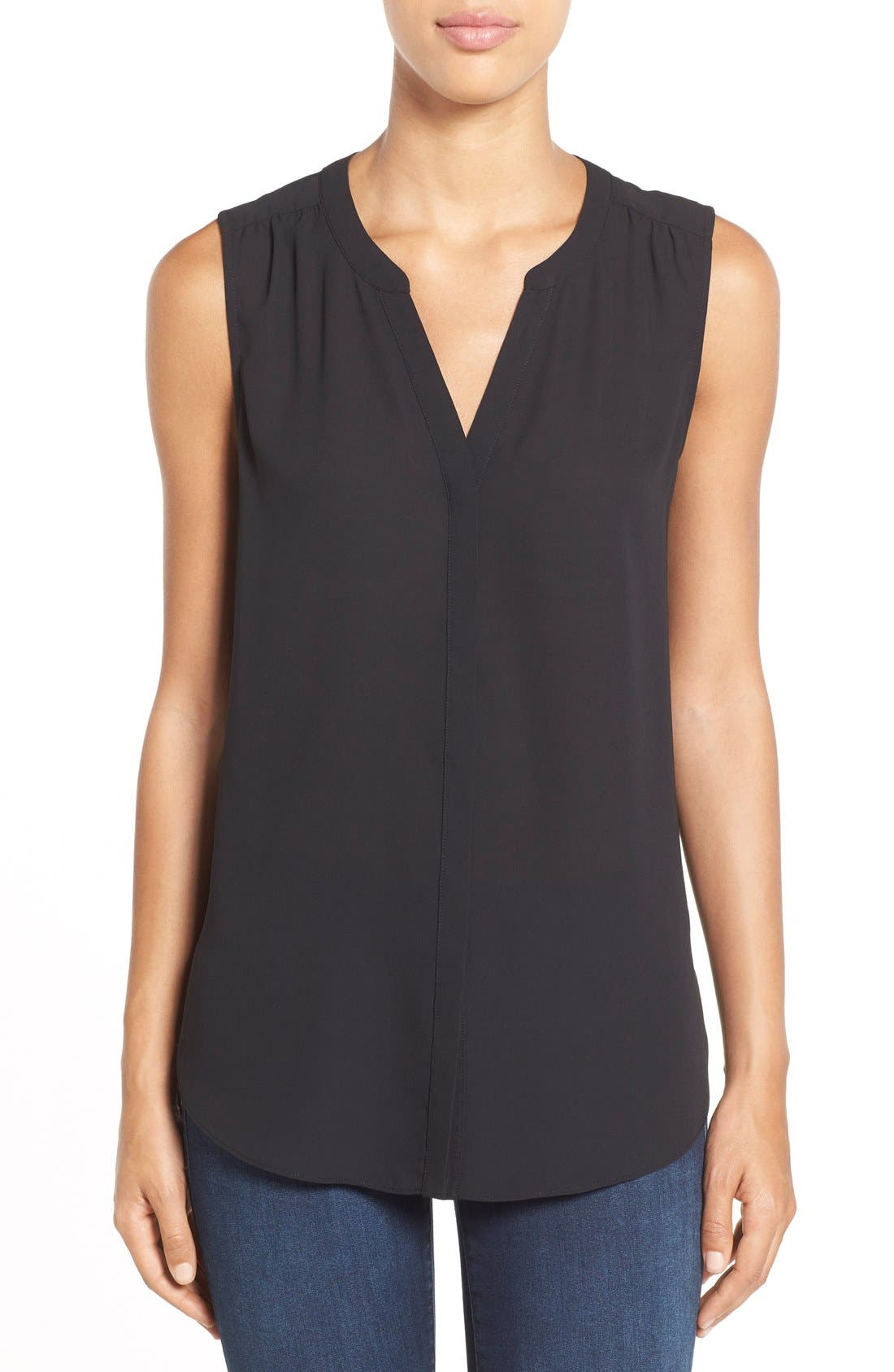 Pleat Back Sleeveless Split Neck Blouse,                         Main,                         color, Black