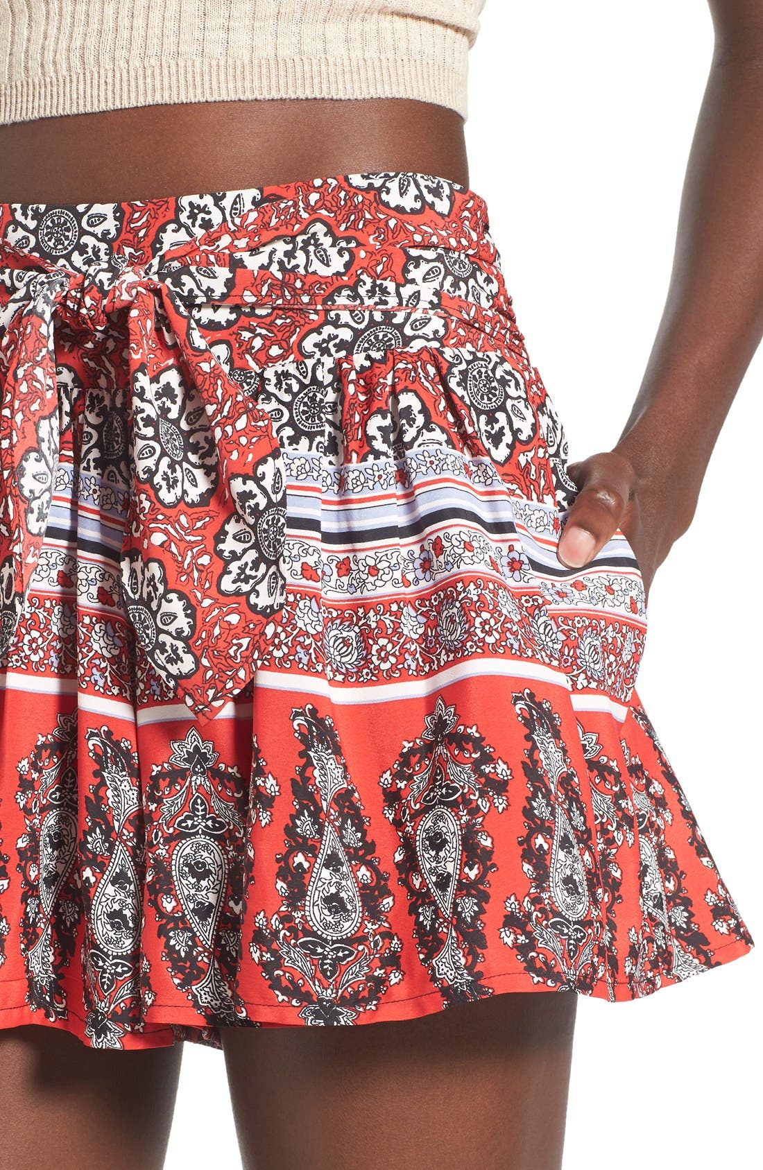 Alternate Image 4  - Band of Gypsies Border Print Tie Front Shorts