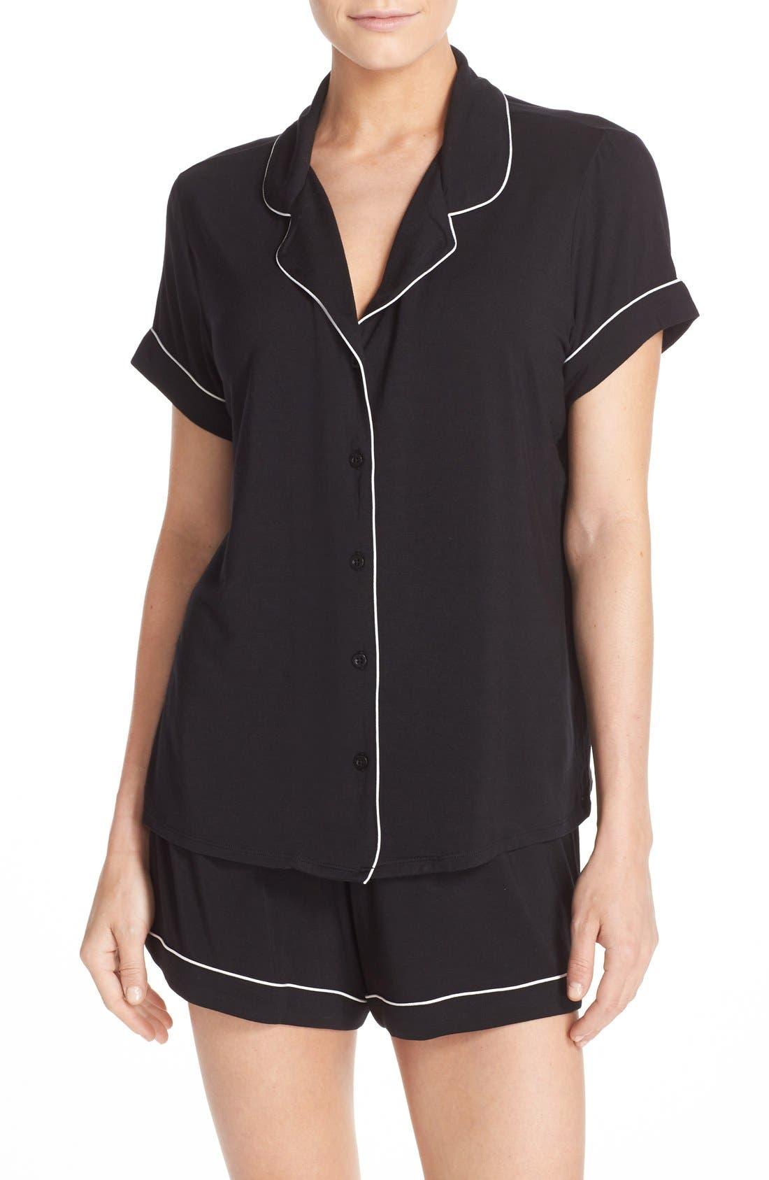 'Moonlight' Short Pajamas,                             Main thumbnail 1, color,                             Black
