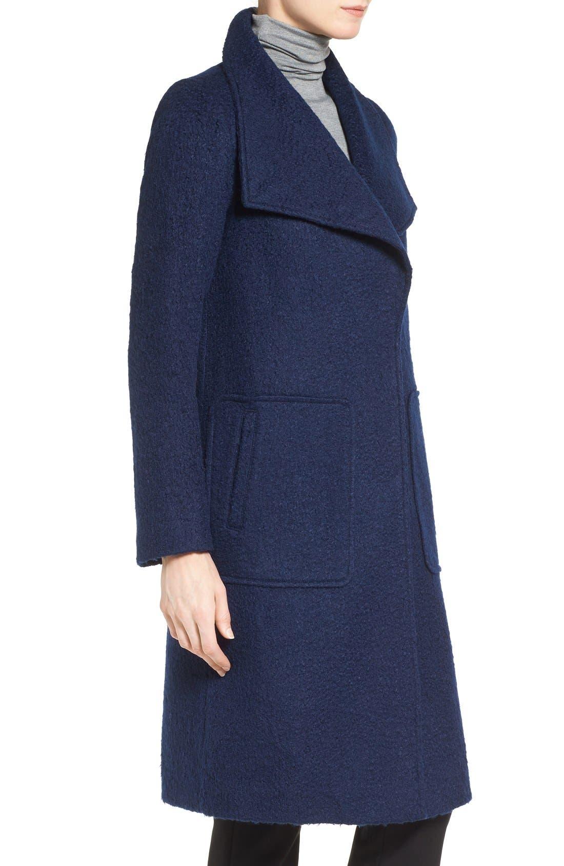 Textured Long Coat,                             Alternate thumbnail 3, color,                             Evening Blue
