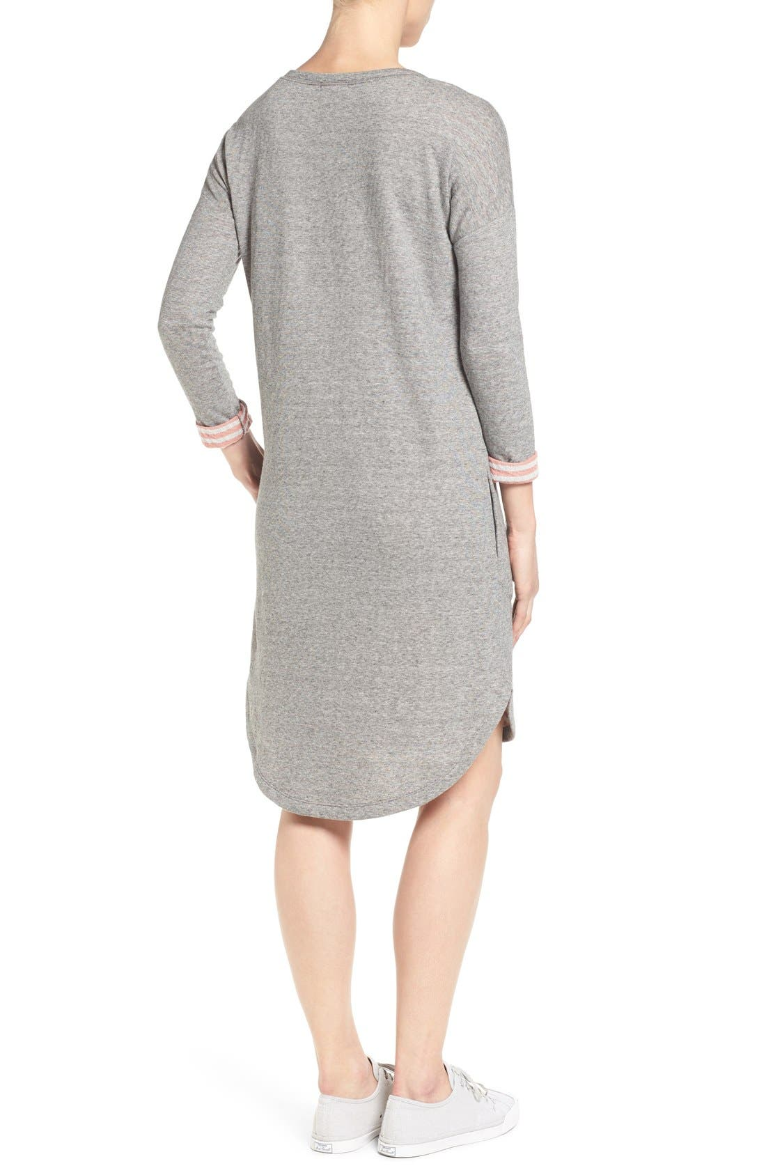 Contrast Cuff Double Knit Dress,                             Alternate thumbnail 2, color,                             Grey- Coral Pattern