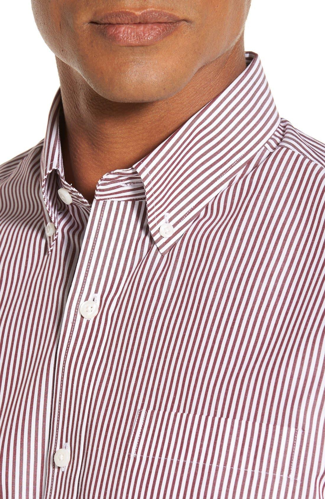 'Epic Easy Care' Regular Fit Mini Bengal Stripe Sport Shirt,                             Alternate thumbnail 4, color,                             Bordeaux