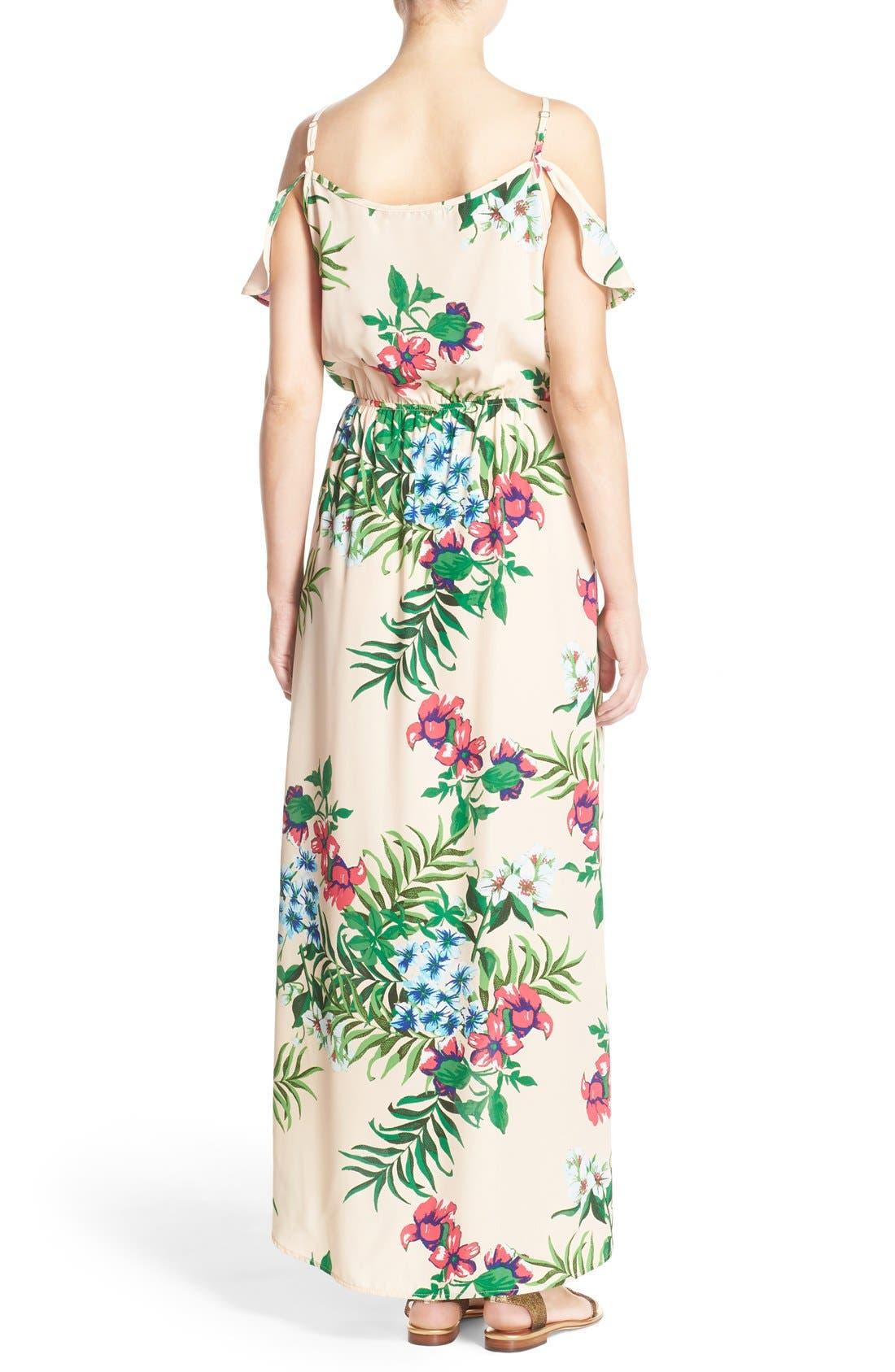 Cold Shoulder High/Low Maxi Dress,                             Alternate thumbnail 2, color,                             Peach