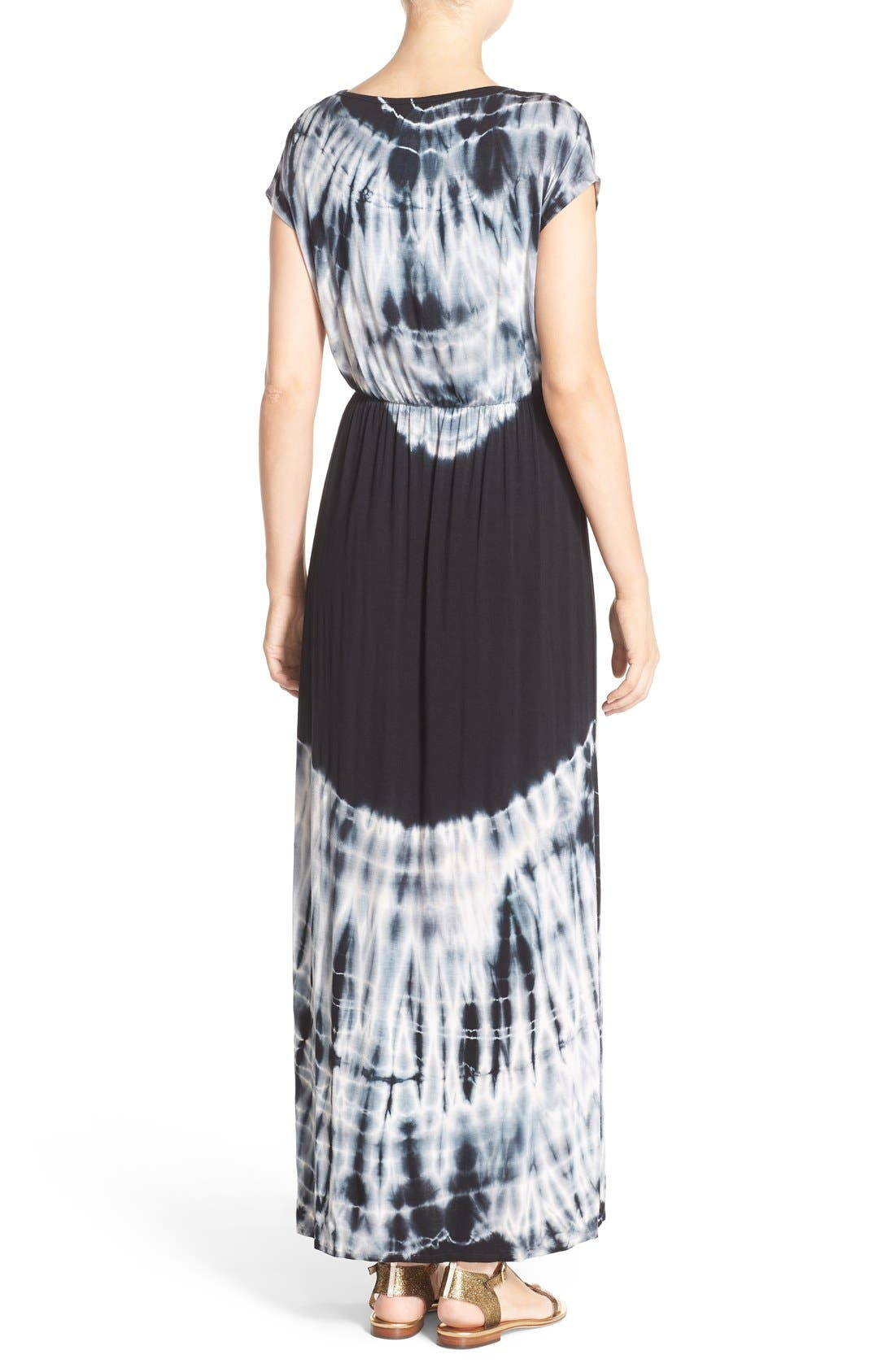 Tie Dye Faux Wrap Maxi Dress,                             Alternate thumbnail 2, color,                             Black