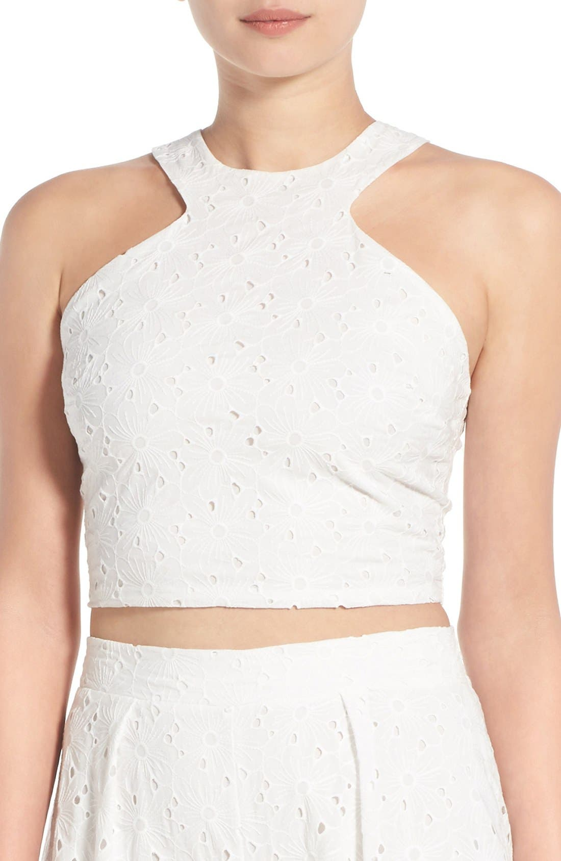 Crop Eyelet Tank,                         Main,                         color, White