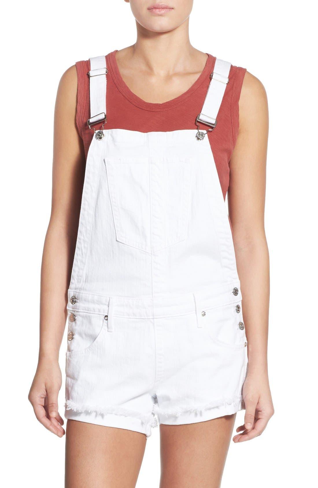 Main Image - True Religion Brand Jeans Denim Short Overalls (Optic White)