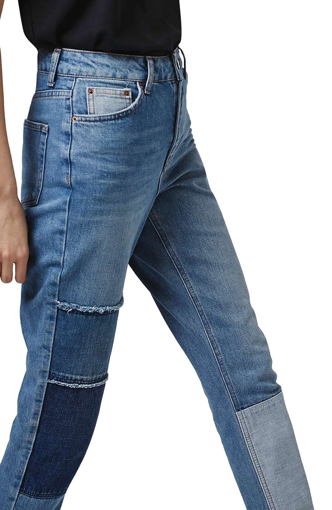 Alternate Image 4  - Topshop Mom Patchwork High Rise Jeans