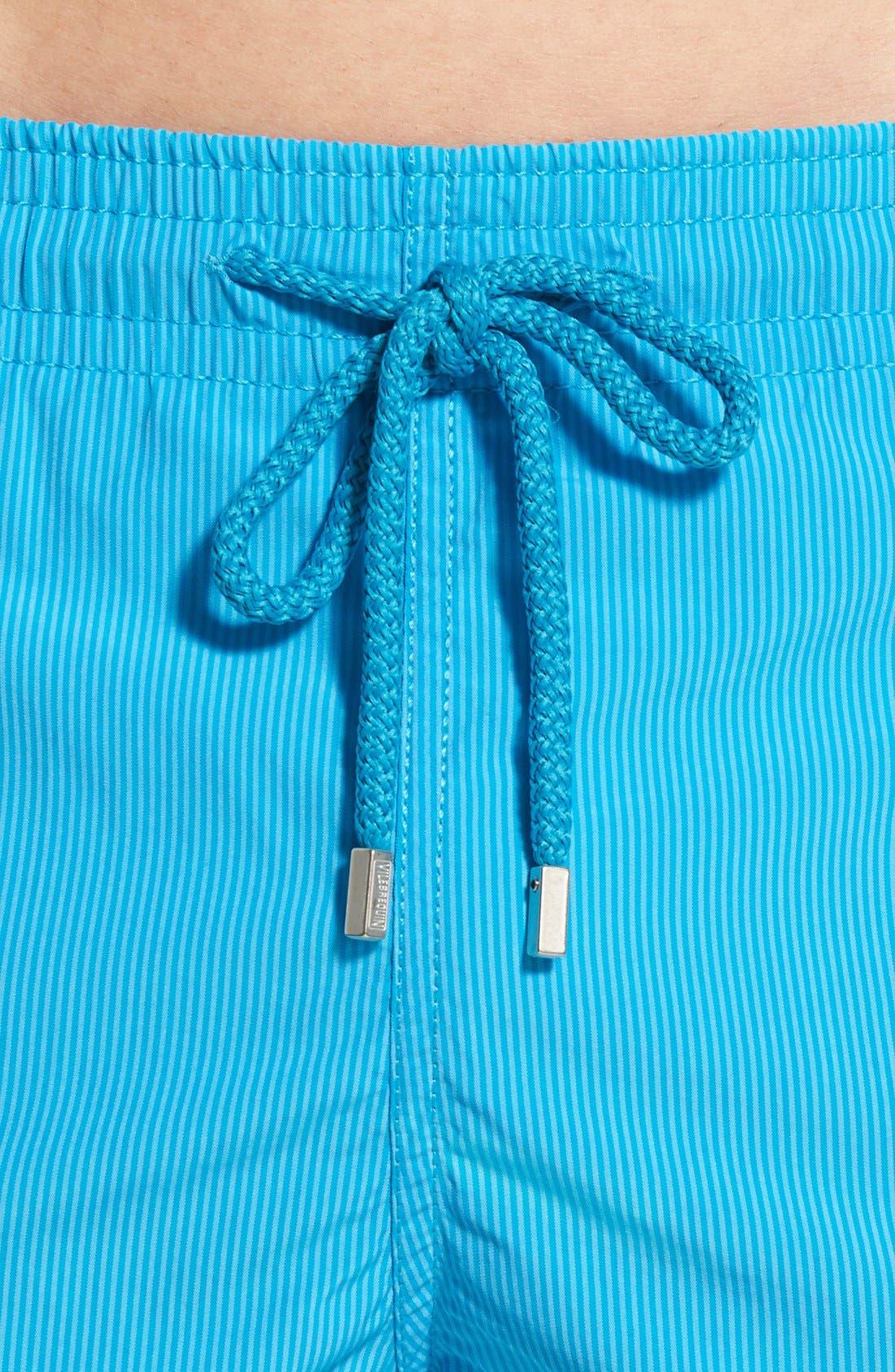 'Morio' Stripe Swim Trunks,                             Alternate thumbnail 4, color,                             Swimming Pool