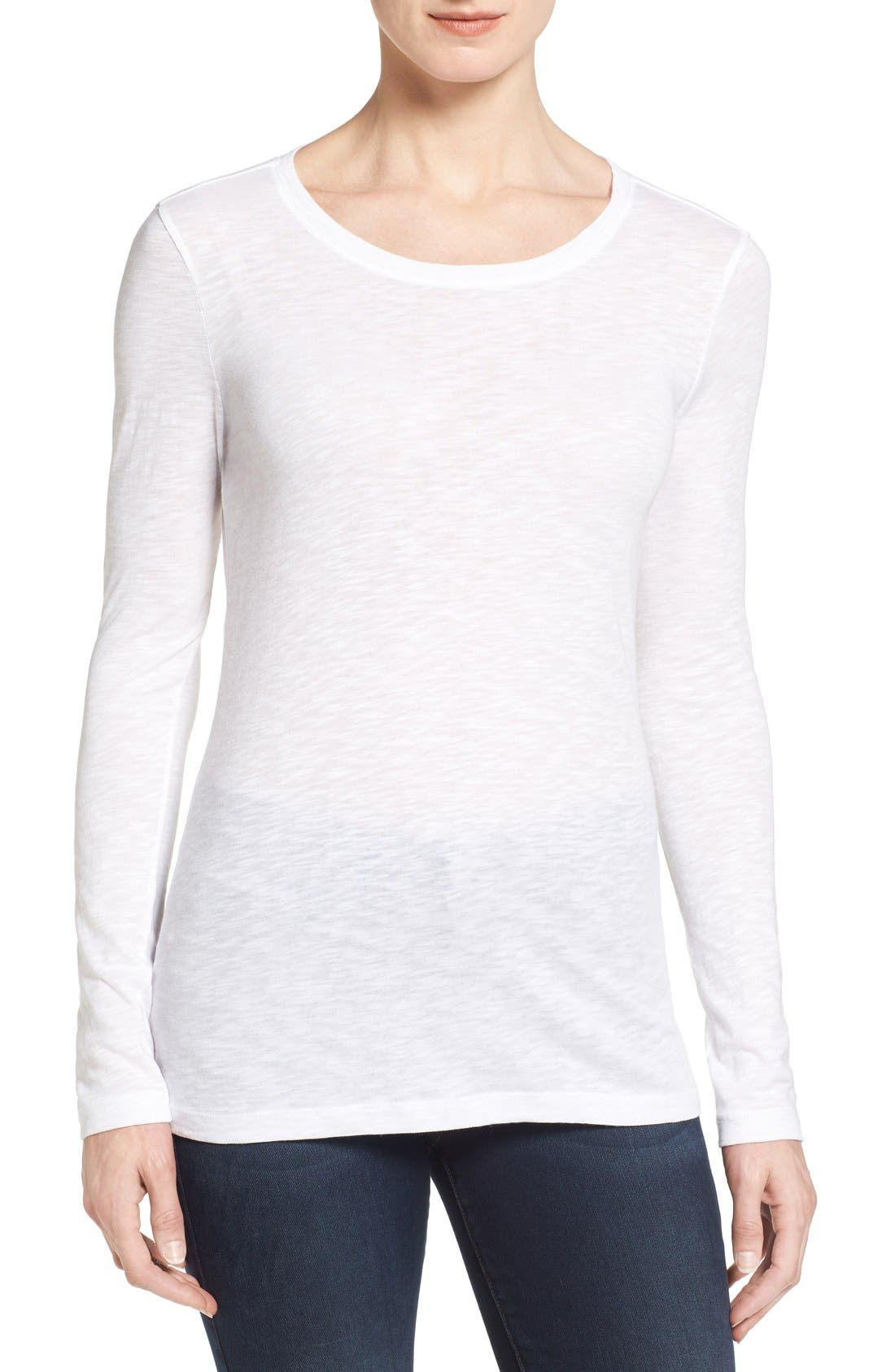 Long Sleeve Crewneck Tee,                         Main,                         color, White