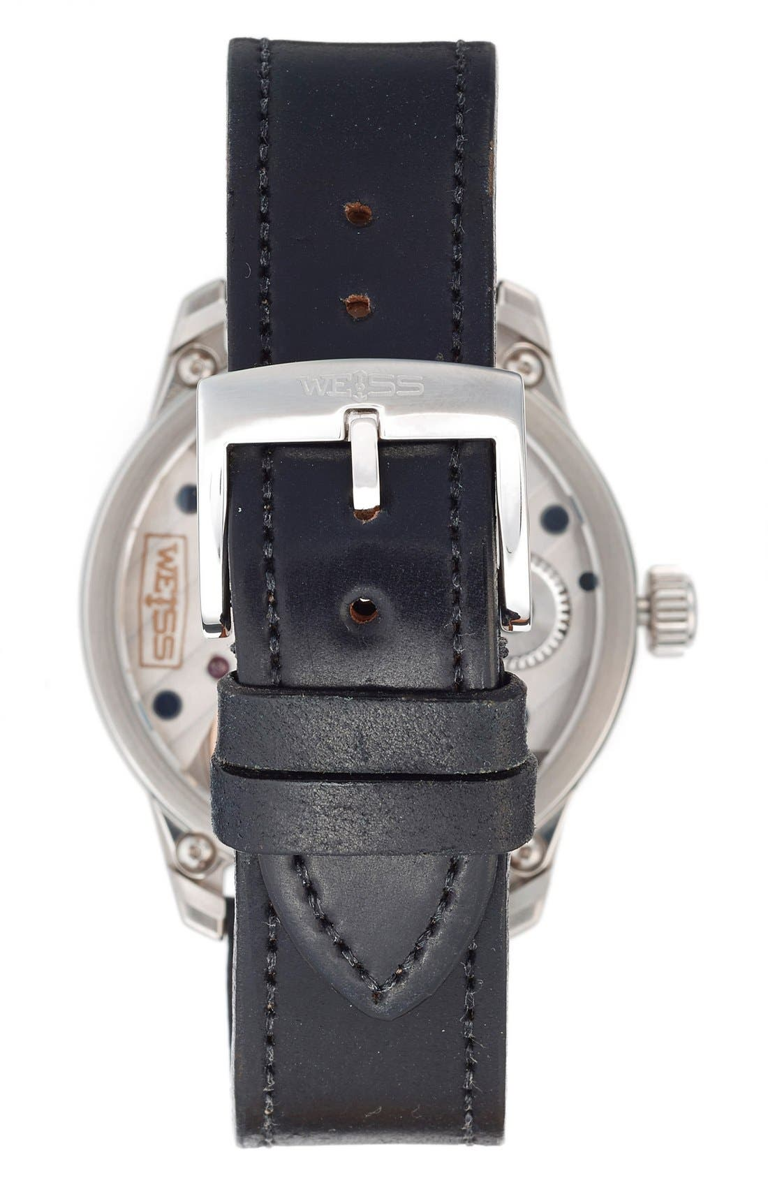 Alternate Image 2  - Weiss Watch Company 'Special Issue' Leather Strap Watch, 42mm