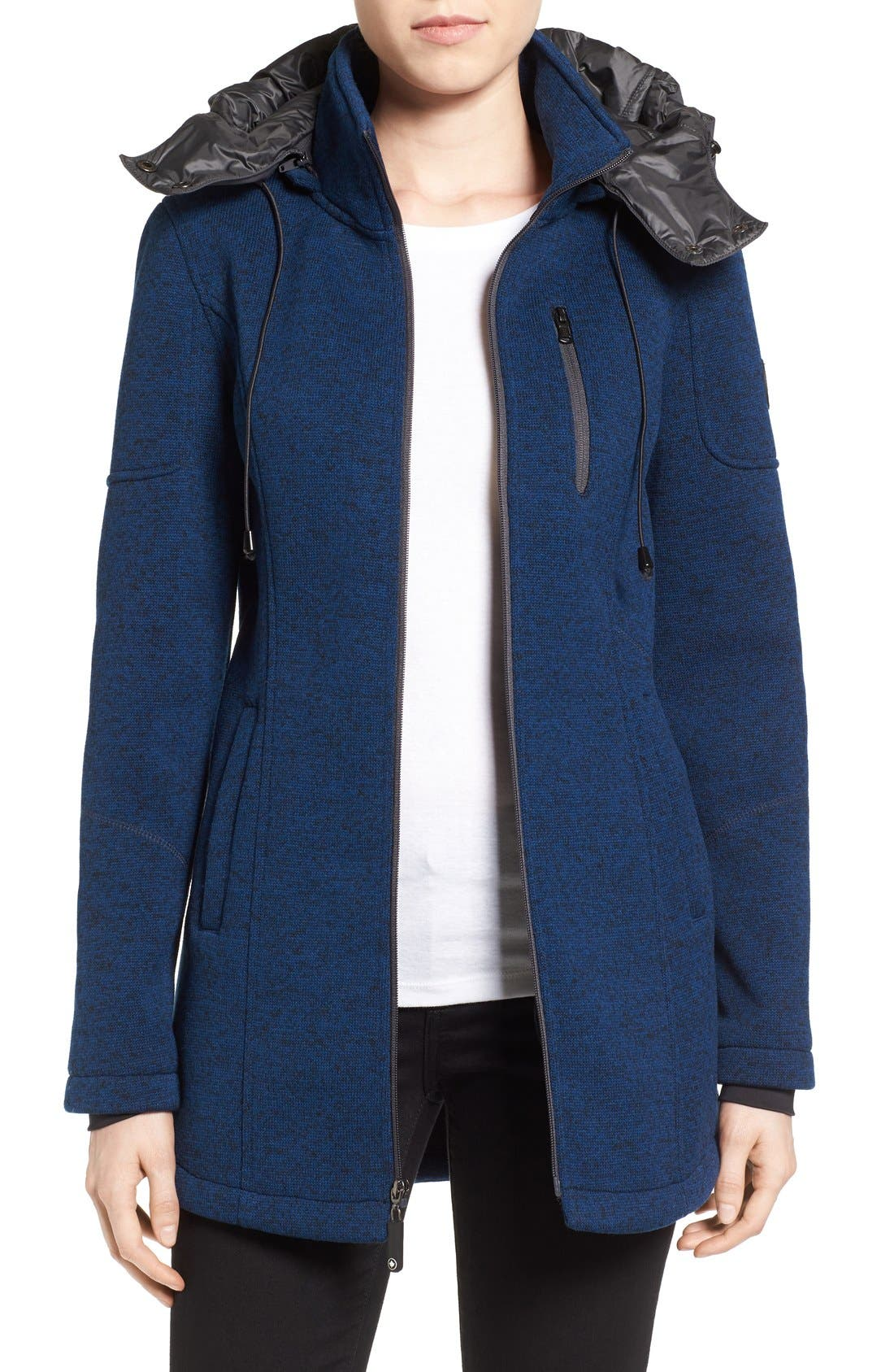 Bonded Knit Zip Front Jacket,                         Main,                         color, Navy