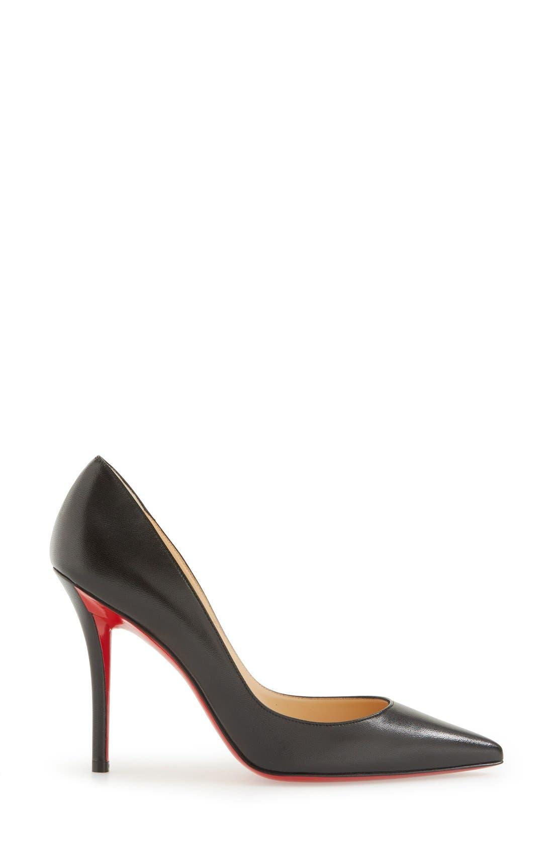 'Apostrophy' Pointy Toe Pump,                             Alternate thumbnail 4, color,                             Black Leather