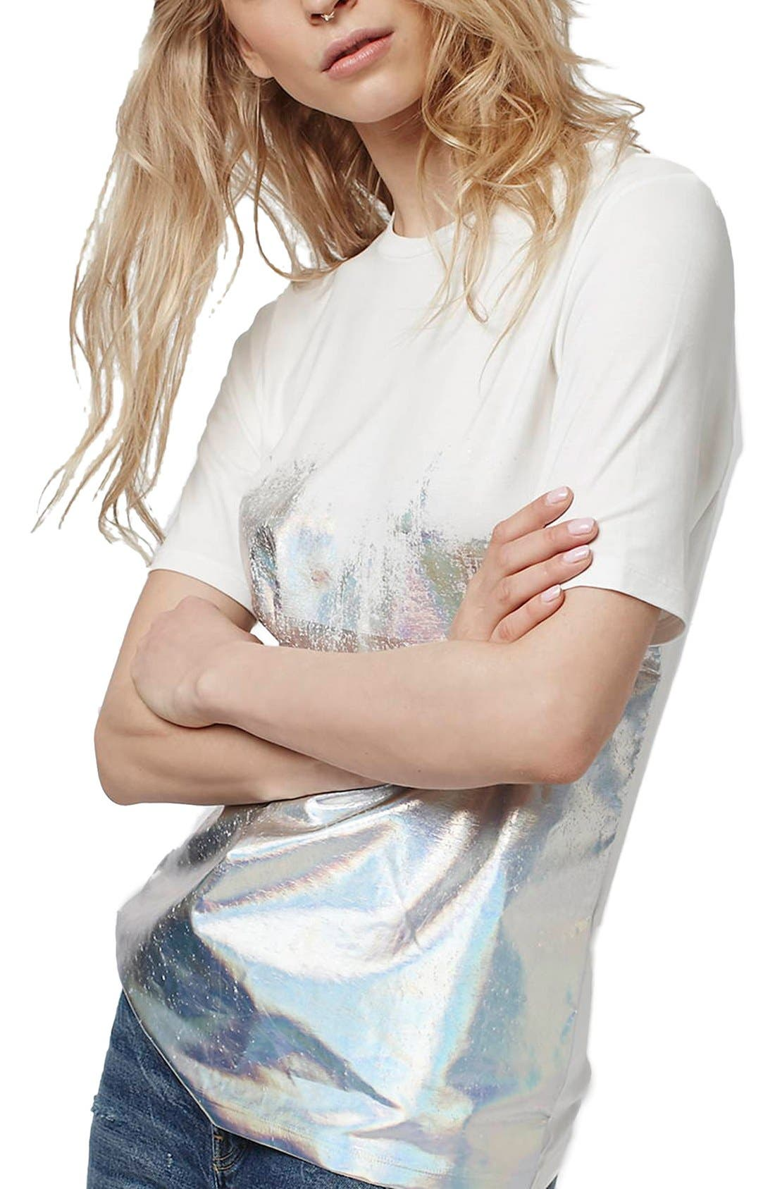 Main Image - Topshop Holographic Dipped Oversize Tee