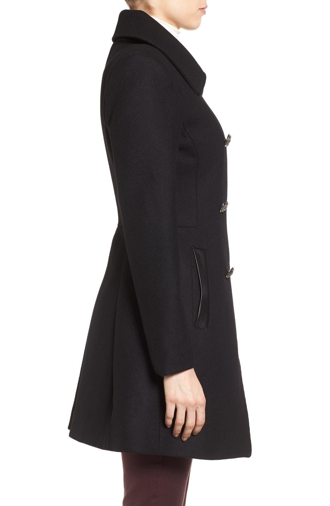 Alternate Image 3  - Trina Turk Wool Blend Military Coat (Regular & Petite)
