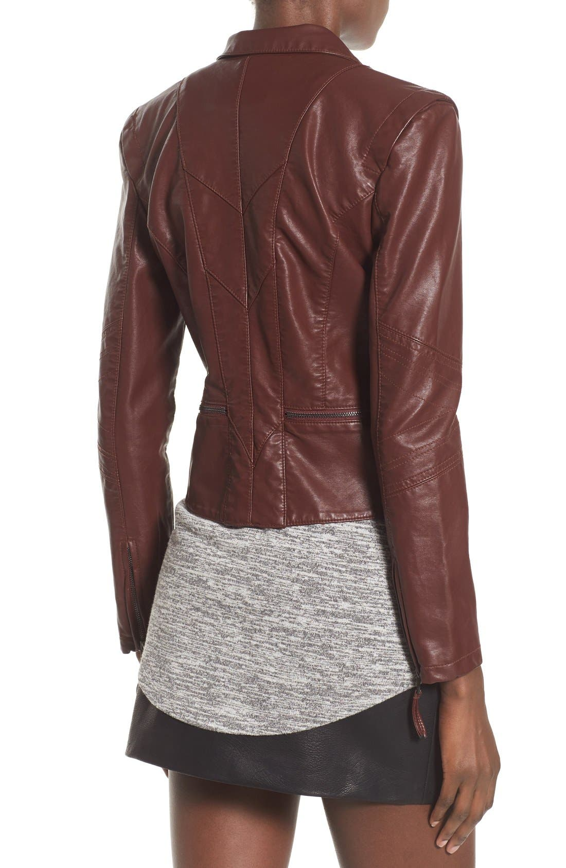 Faux Leather Jacket,                             Alternate thumbnail 3, color,                             Touch And Go