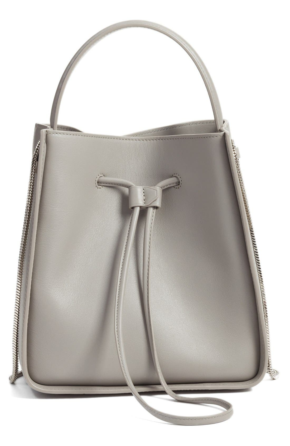 Small Soleil Leather Bucket Bag,                             Main thumbnail 1, color,                             Cement
