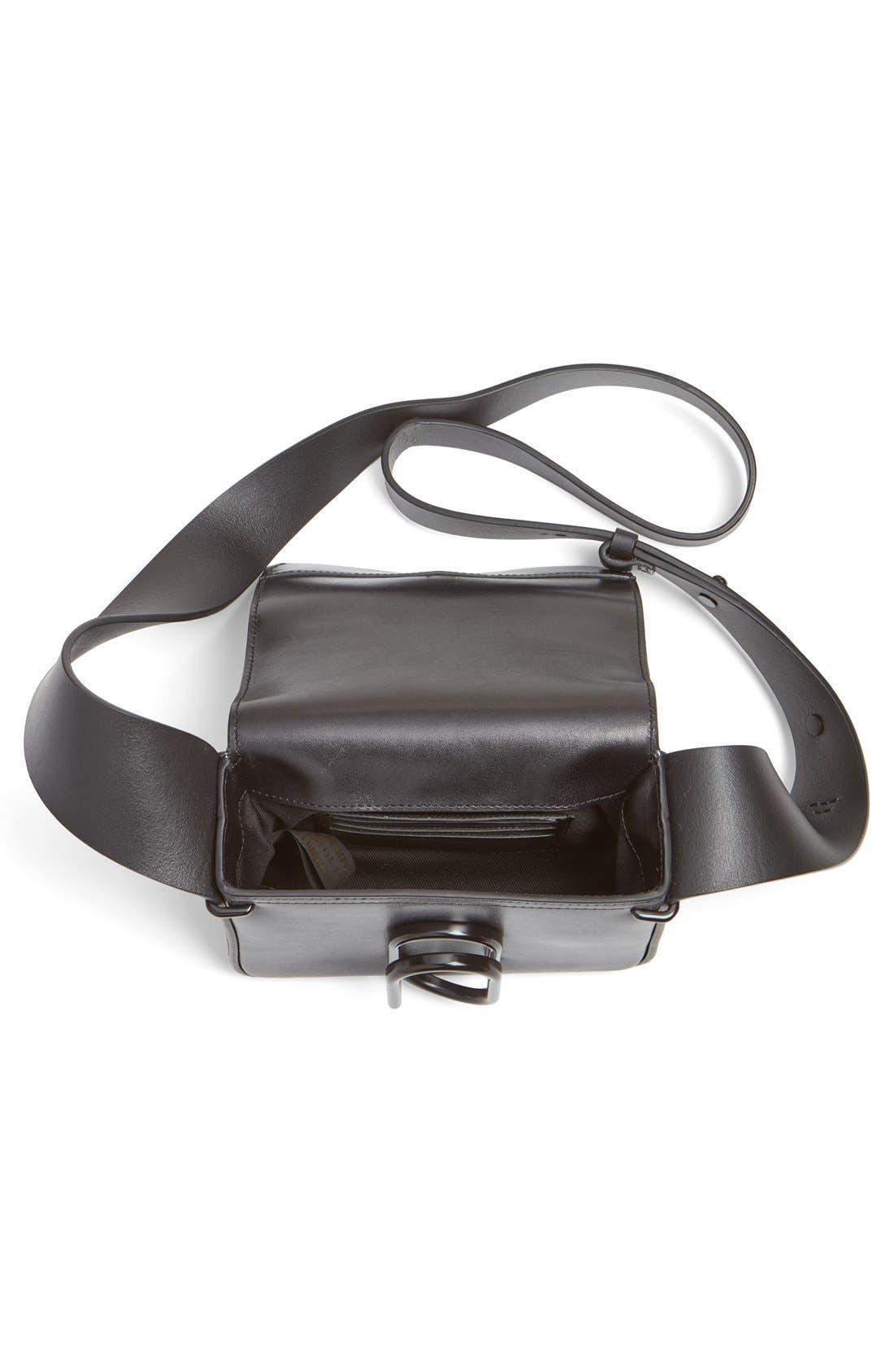 'Mini Alix' Leather Shoulder Bag,                             Alternate thumbnail 3, color,                             Black