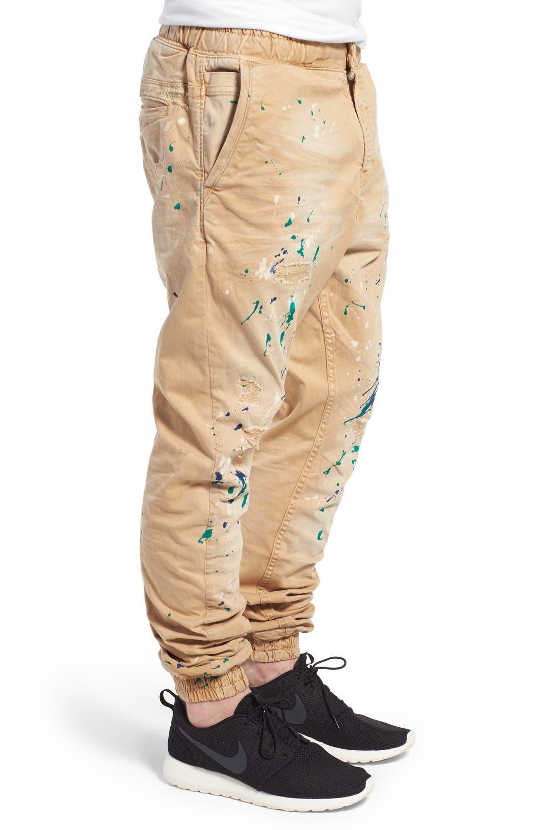 'Damiana' Splatter Paint Stretch Woven Jogger Pants,                             Alternate thumbnail 3, color,                             Khaki