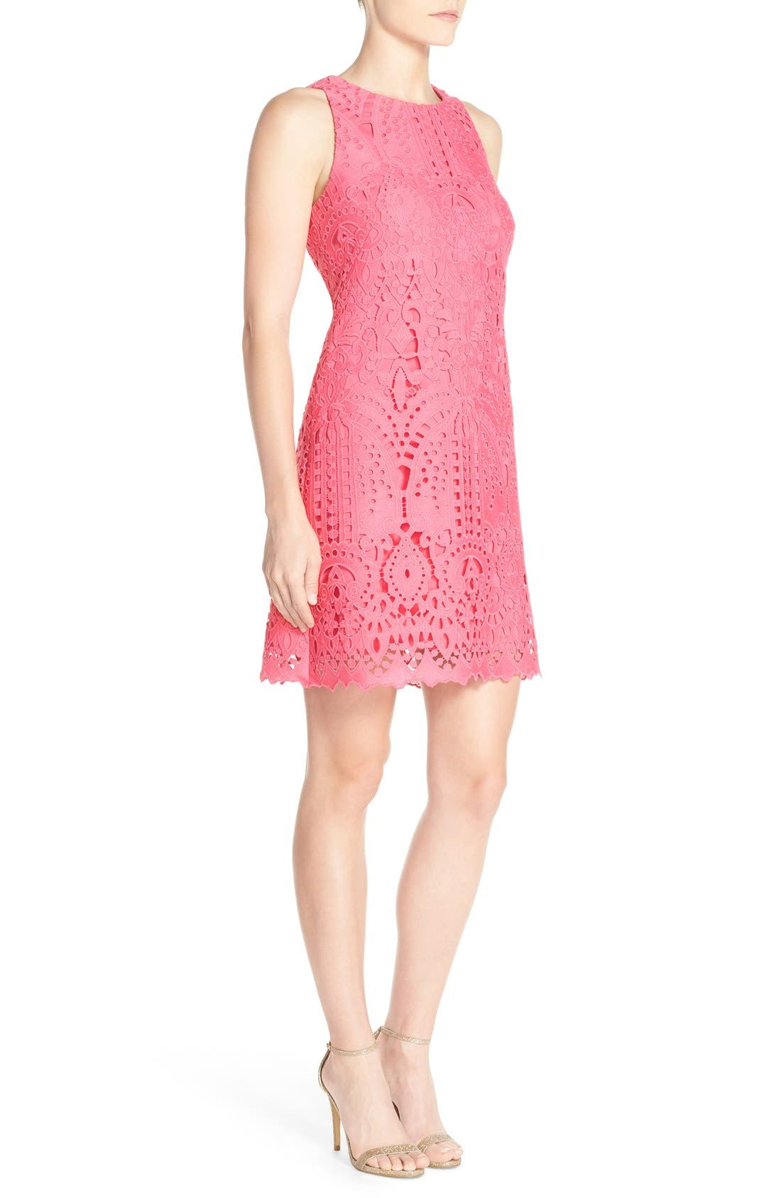 Lace Shift Dress,                             Alternate thumbnail 3, color,                             Pink