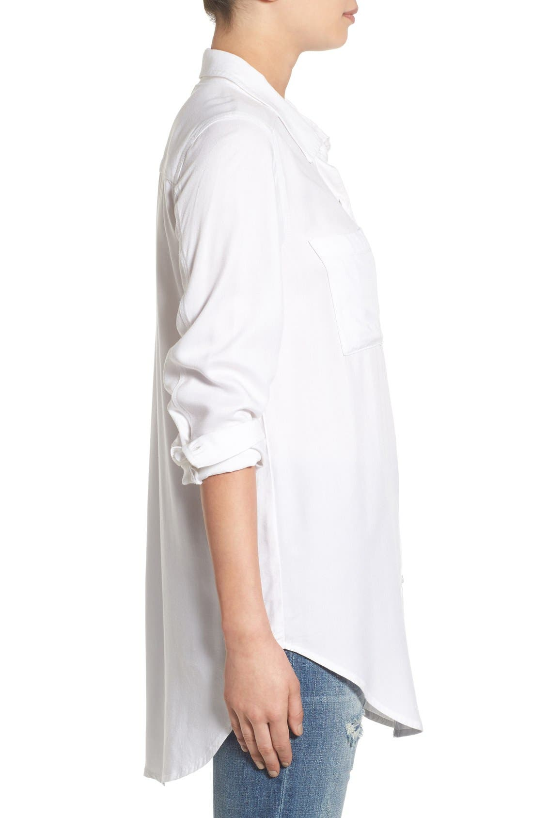Woven Twill Tunic,                             Alternate thumbnail 4, color,                             White