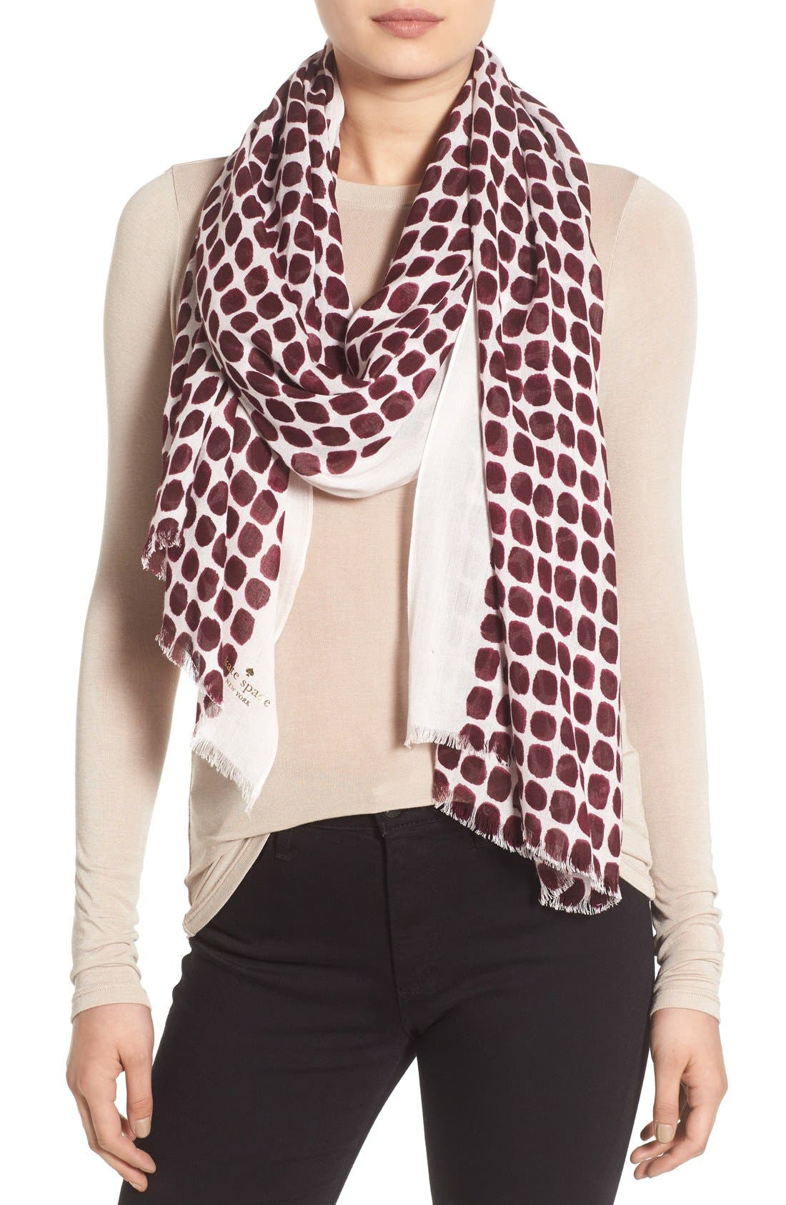 'seaglass dots' scarf,                             Main thumbnail 1, color,                             Midnight Wine Dot