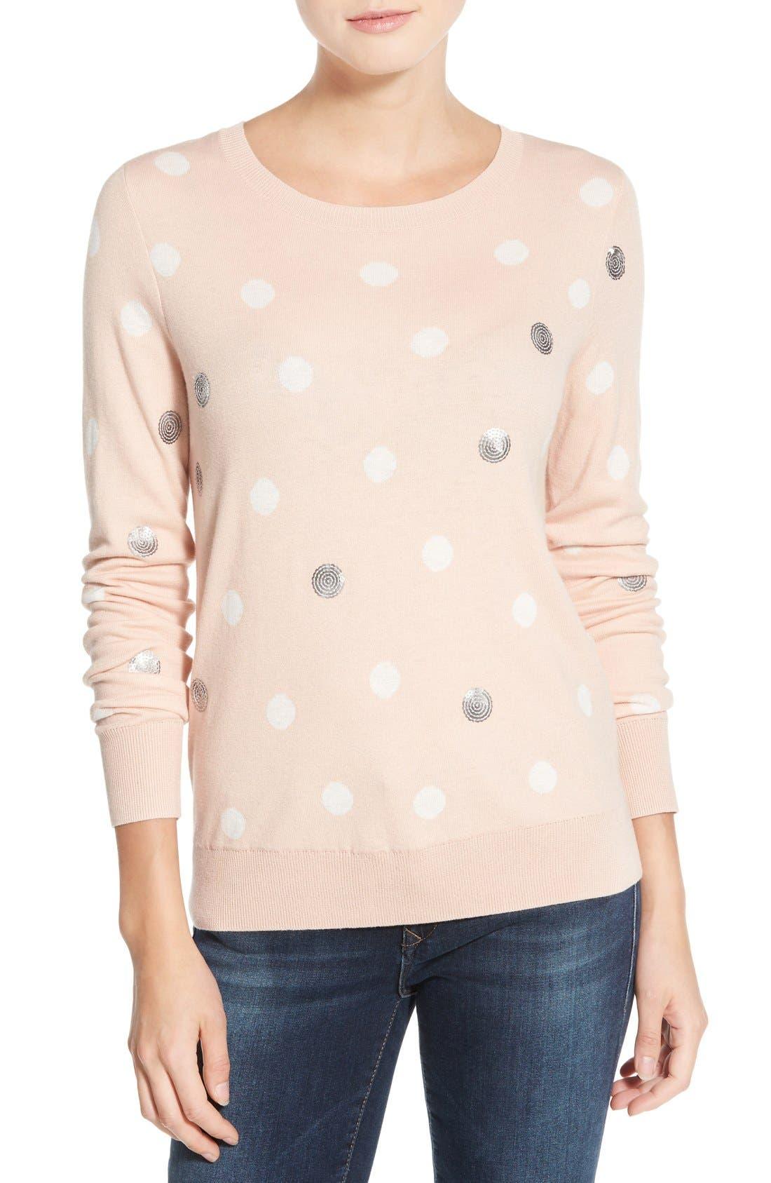 Alternate Image 1 Selected - Halogen® Lace Appliqué Crewneck Sweater (Regular & Petite)