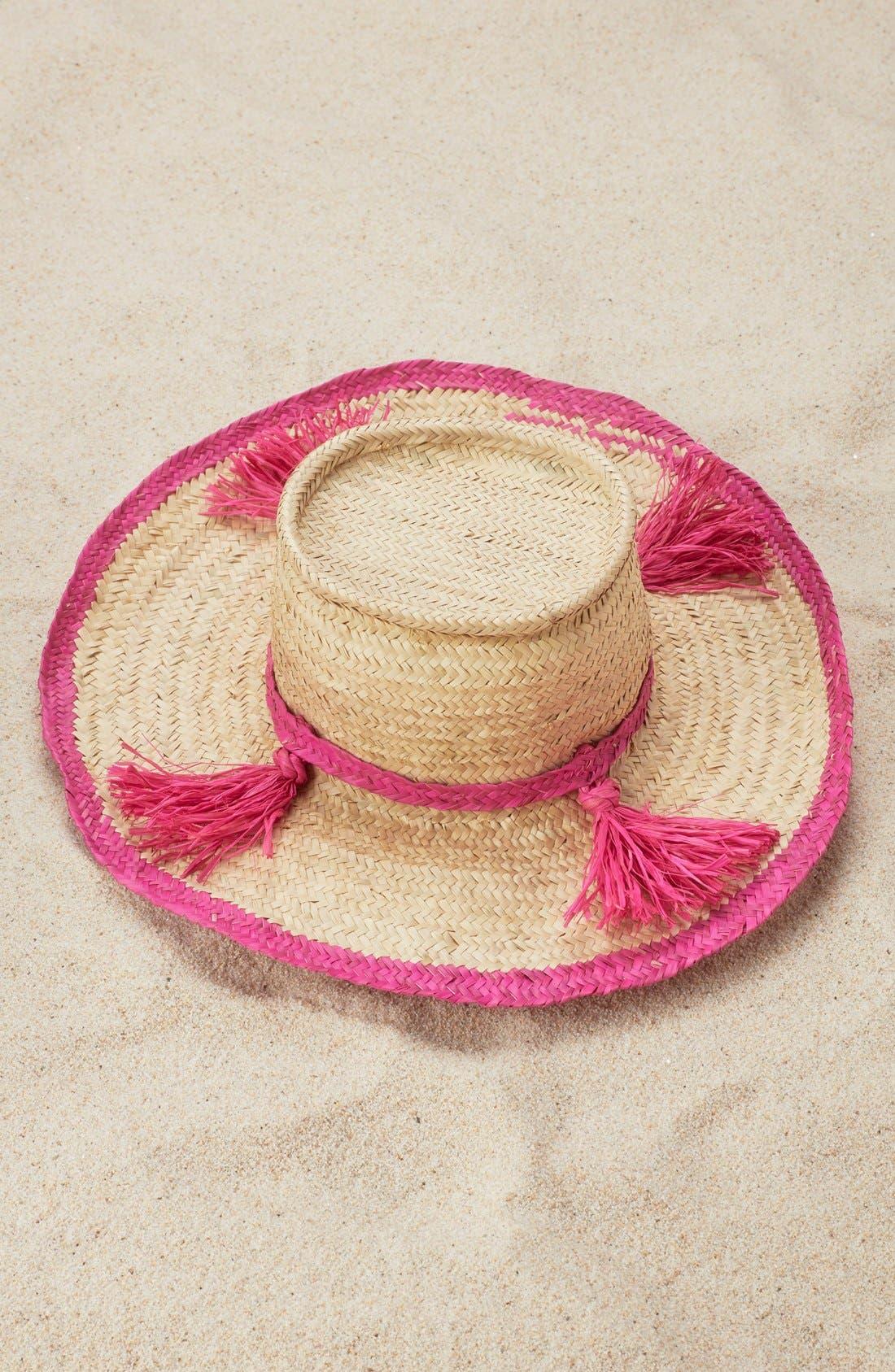 Main Image - indego africa Woven Tassel Hat