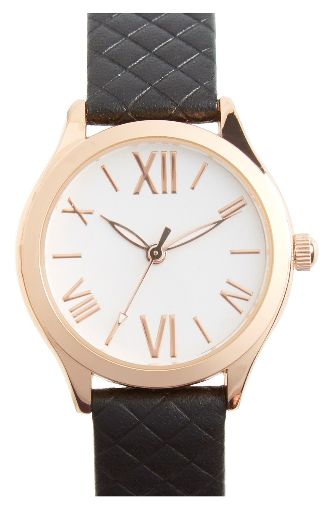 Main Image - Topshop Roman Numeral Quilted Leather Strap Watch, 28mm