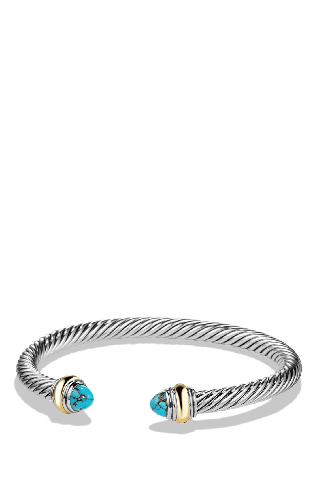 David Yurman Cable Classics Bracelet with Semiprecious Stones & 14K Gold Accent, 5mm