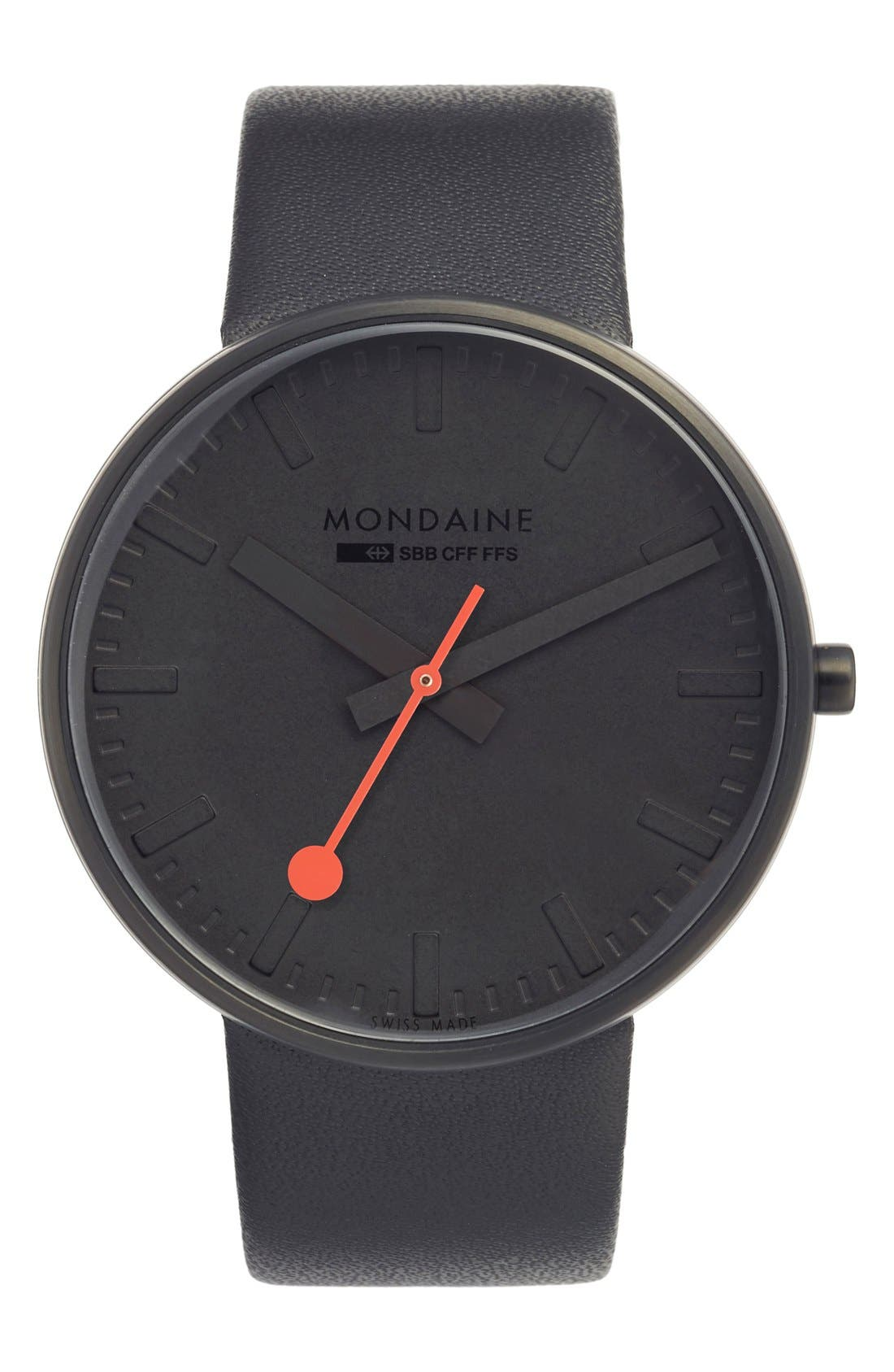 Mondaine 'Evo' Leather Strap Watch, 42mm