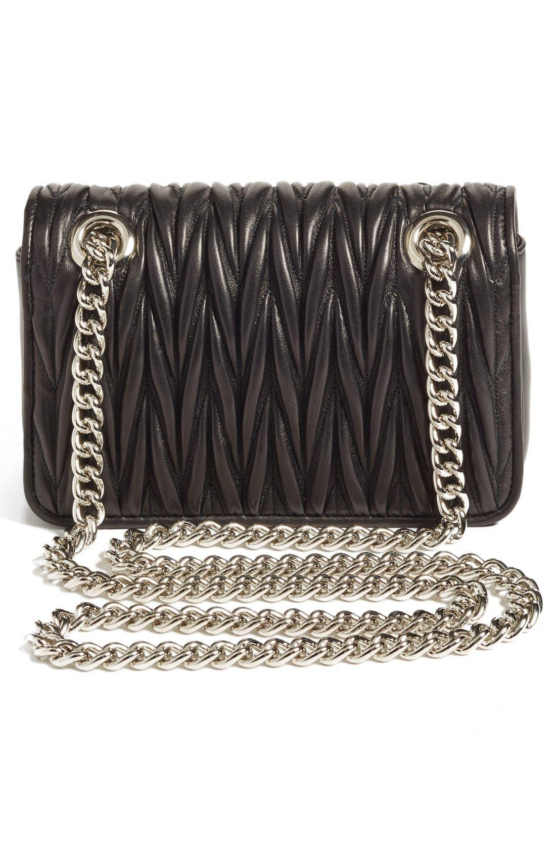 Small Matelassé Leather Shoulder Bag,                             Alternate thumbnail 3, color,                             Nero