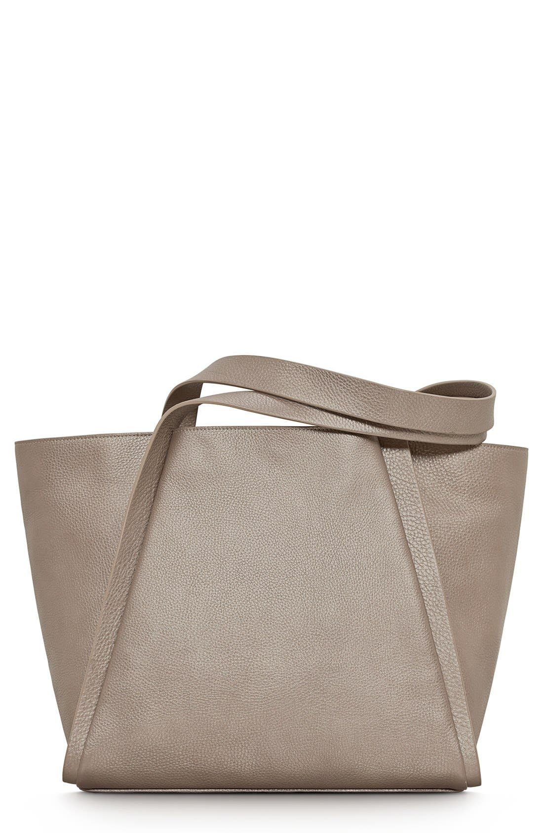 Main Image - Akris 'Medium Alex' Metallic Leather Shopper