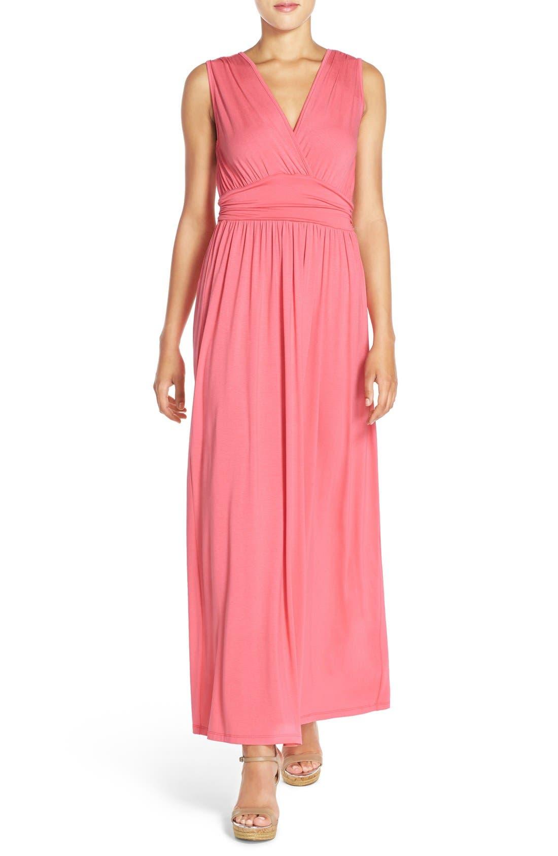 Main Image - Fraiche by J Surplice Jersey Maxi Dress