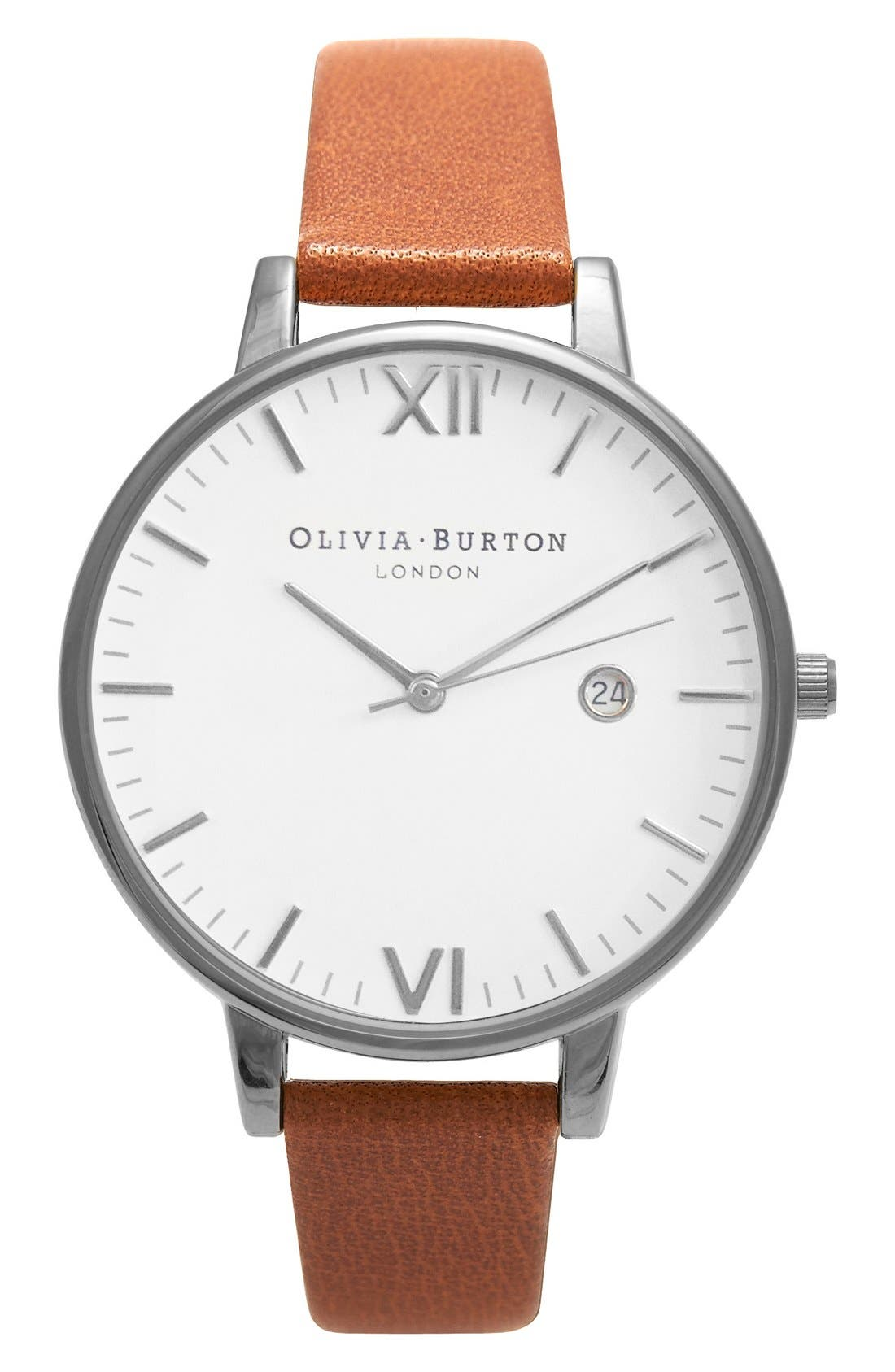 OLIVIA BURTON Timeless Leather Strap Watch, 38mm