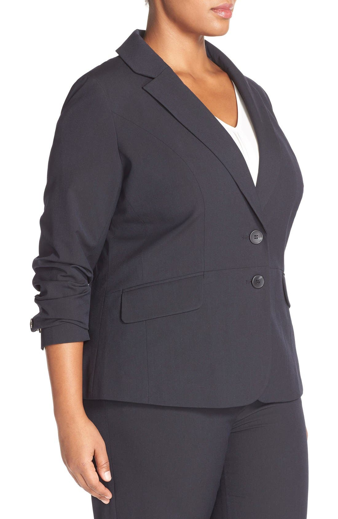 Alternate Image 3  - Sejour 'Ela Two-Button Stretch Suit Jacket (Plus Size & Petite Plus)