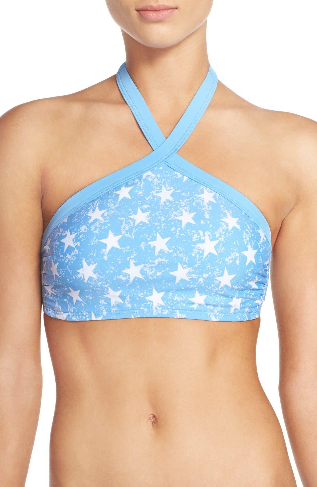 Main Image - The Bikini Lab 'American Flag - Red, White & You' High Neck Bikini Top