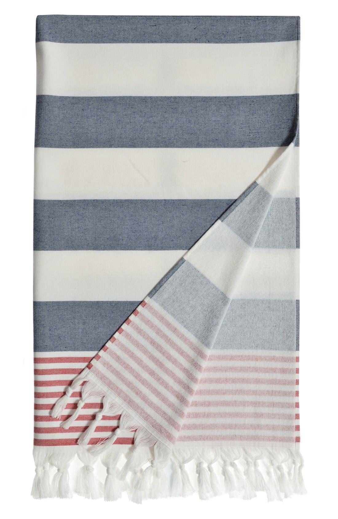 'Patriotic' Turkish Pestemal Towel,                         Main,                         color, Ocean Blue