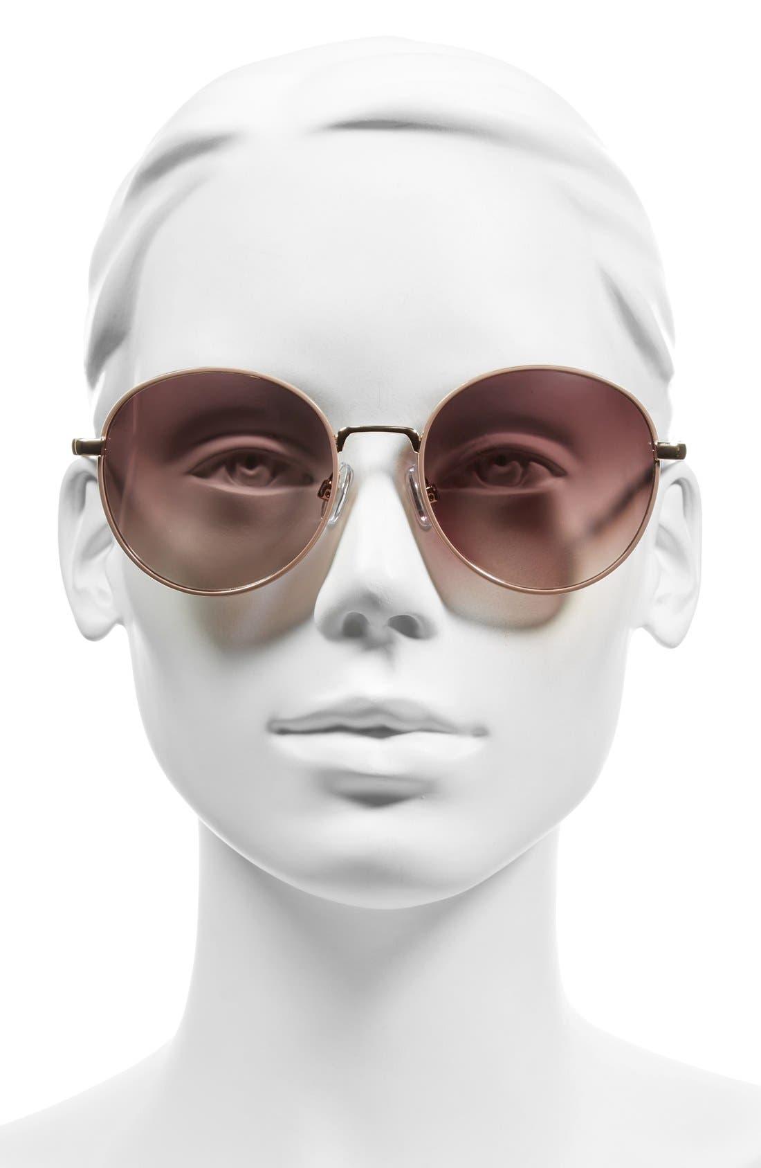 55mm Round Sunglasses,                             Alternate thumbnail 2, color,                             Mauve