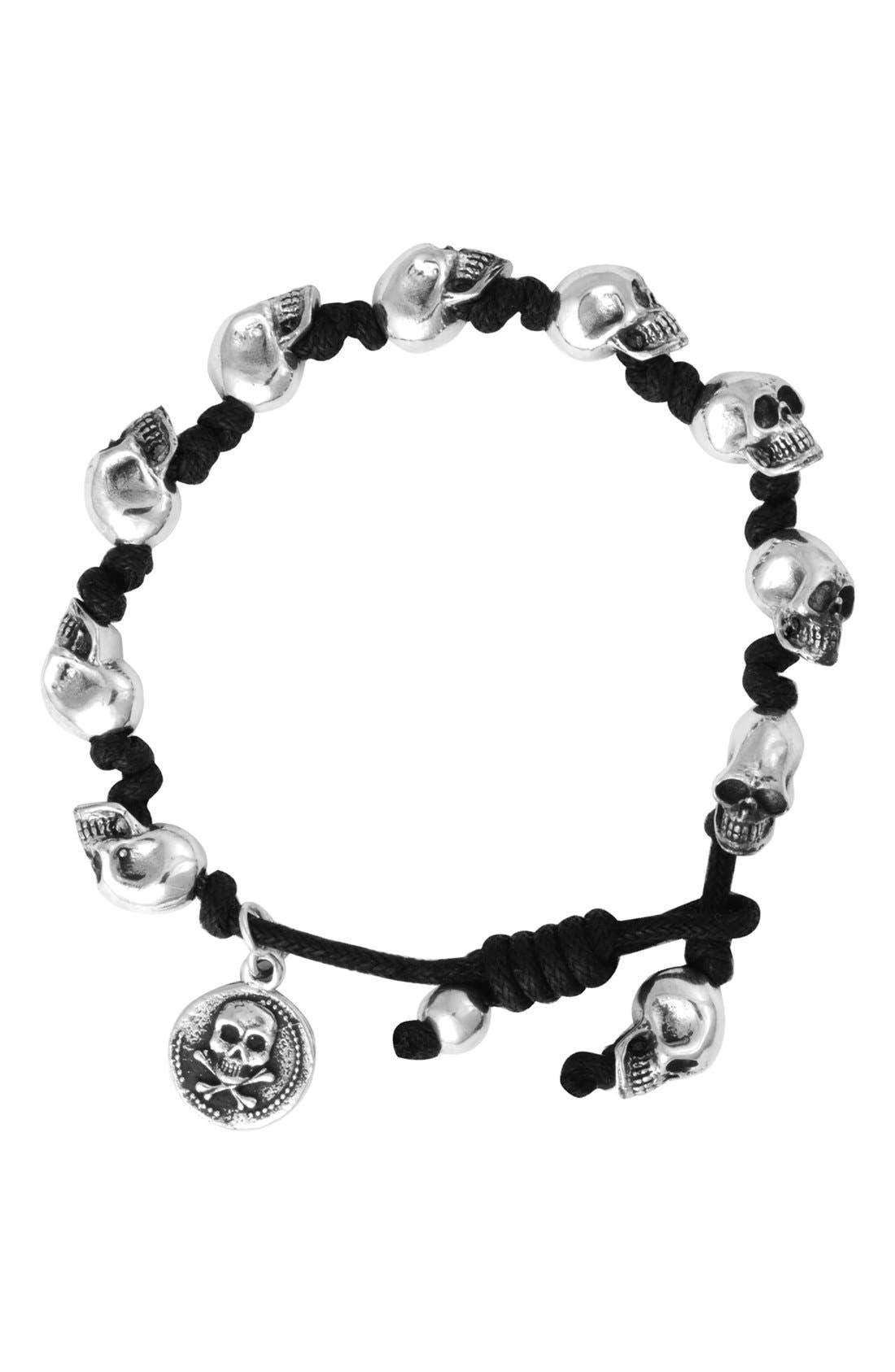 Skull Bead Bracelet,                             Main thumbnail 1, color,                             Silver