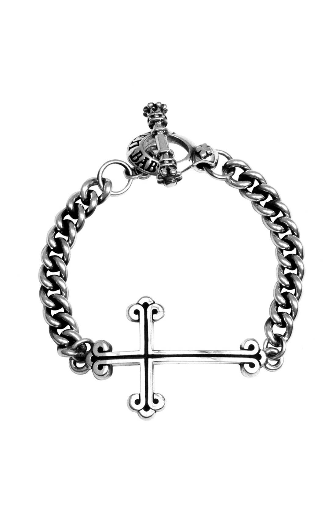 Cross Chain Bracelet,                         Main,                         color, Silver