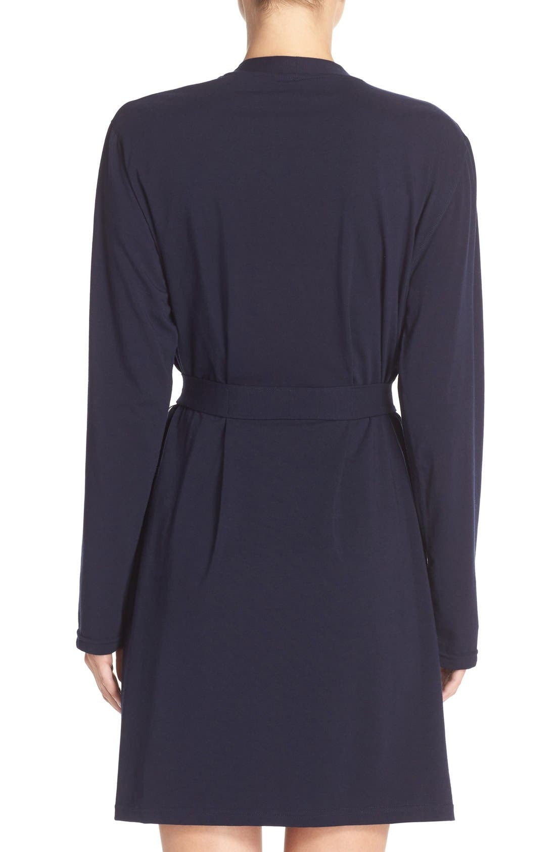 Stretch Cotton Robe,                             Alternate thumbnail 2, color,                             Peacoat