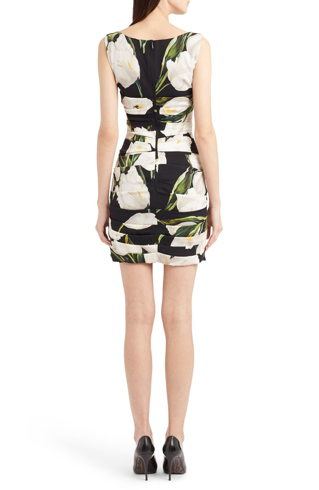 Alternate Image 2  - Dolce&Gabbana Ruched Tulip Print Stretch Silk Charmeuse Dress