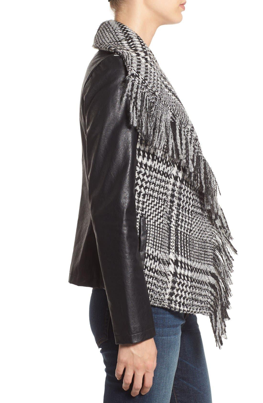 Fringe Trim Glen Plaid Faux Leather Moto Jacket,                             Alternate thumbnail 3, color,                             Black/ White Plaid