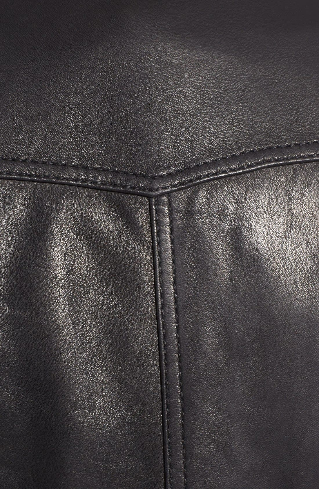 Front Zip Leather Jacket,                             Alternate thumbnail 5, color,                             Black