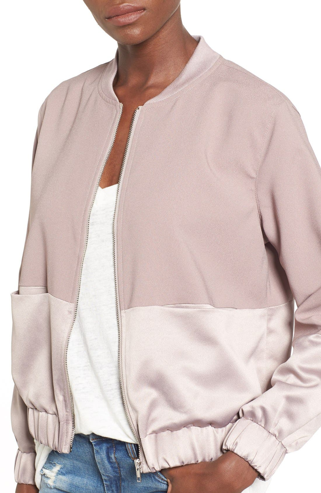 Alternate Image 5  - Missguided Satin & Faux Suede Bomber Jacket