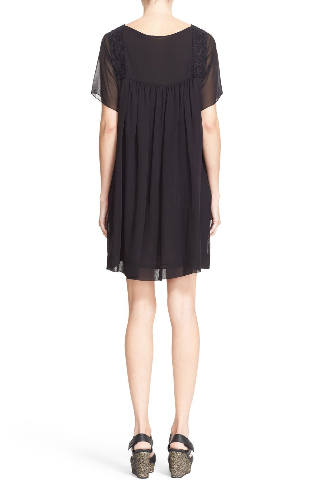 Alternate Image 2  - See by Chloé Lace Trim Silk Georgette Dress