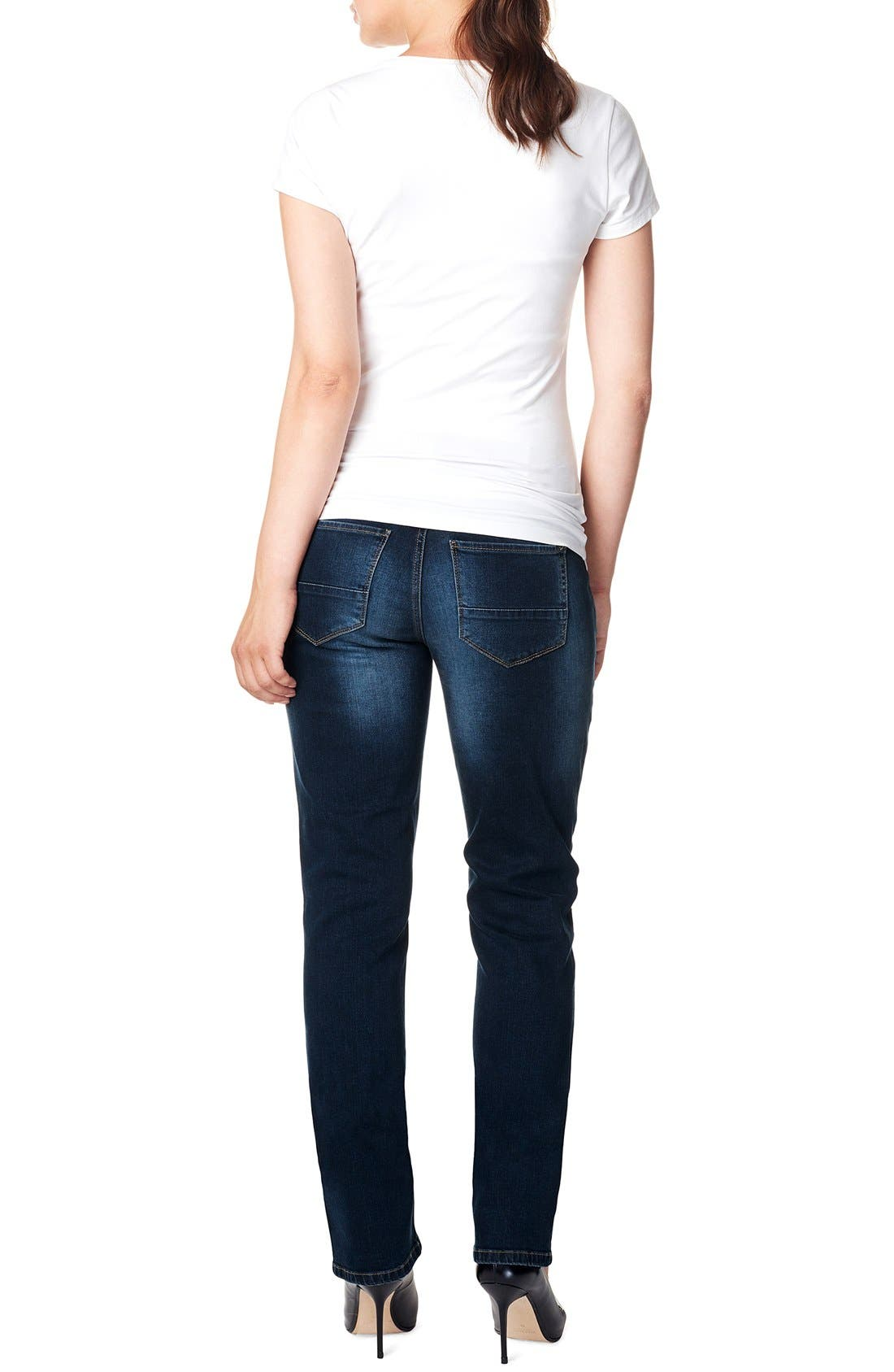 'Mena Comfort' Over the Belly Straight Leg Maternity Jeans,                             Alternate thumbnail 3, color,                             Dark Stone Wash