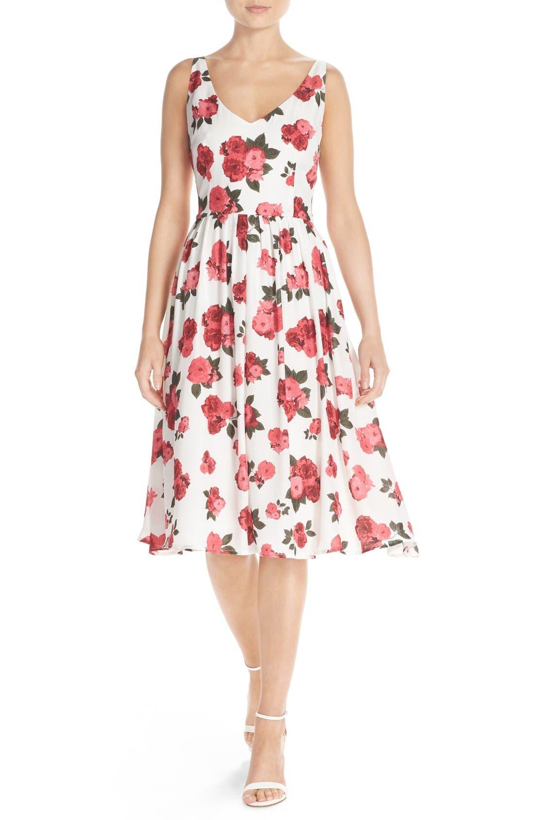 Main Image - BB Dakota 'Claudia' Floral Crepe Fit & Flare Dress